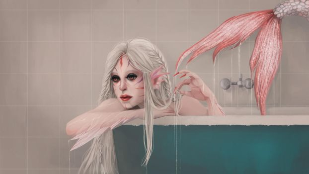 Albino Mermaid || with painting process by fcnjt