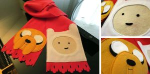 Adventure Time Scarf with Finn and Jake by Omonomopoeia