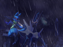 Lucario and Dialga in the rain by Dragoshi1