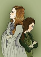 Sansa and Arya by Tiedala