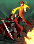 [COMMISSION] Sword and Fire by AquaWaters