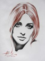 Red-Haired Girl (charcoal & sanguine on paper) by AdrianMoraru