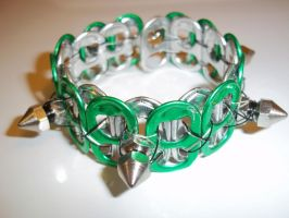Green Spiked Tab Cuff by Industrial-Pop