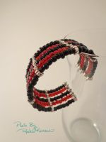 *SOLD* Red and Black Ebead Cuff 41 by TheSortedBead