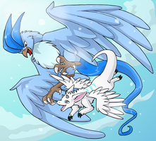 Shiny Articuno and Shinsetsu by KristKC