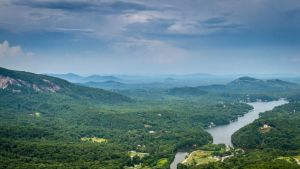 A View of Lake Lure from Chimney Rock by Earth-Divine
