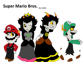 Mariostuck: Super Maro Bros. as Trolls by Rotommowtom