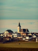 Small village skyline with mint sky by patrickjobst