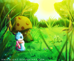 Blob Commission: Fluffles in the Meadow by xMissLight