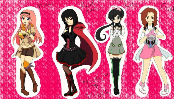 Mochi, RedRose, Lily, and Floof as RWBY characters by mochichansenpai