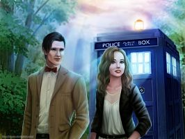 Commission: The 11th Doctor Who and Emily Kemper by starca