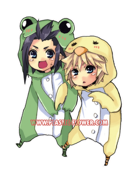 FF7: frog and chick keychain by animegirl000