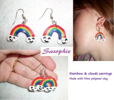 Rainbow clouds earrings by Sasophie