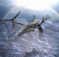 Cv22 over water by Jorgeg3D