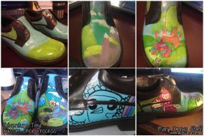 Adventure Time Shoes Process by marywinkler