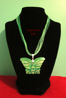 Green Butterfly Shell Ribbon Necklace by BloodRed-Orchid