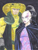 Serpentor and Pythona by MichaelPowellArt