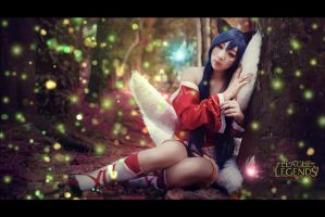 ahri - sleeping in the forest~ by BakaaChuu