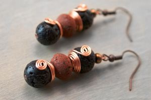 Lava Rock Copper Wire Wrap Earrings by OneUrbanTribe