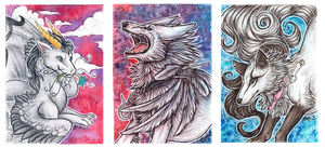 ACEO: Natoli, Tatchit, Whitespiritwolf by Syphellium