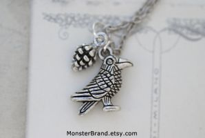 Tiny Crow and Pinecone Necklace by foowahu-etsy