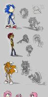 Sonic Character sketches by GirlsandBots