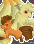 Ninetails and Vulpix by foxicle