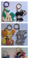 Delphox and other recent keychains by SoftMonKeychains