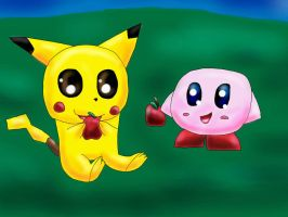 Pikachu and Kirby by TheCreatorOfSoften