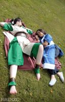 Toph Bei Fong and Katara - Relaxing in the sun by Melonl0rd