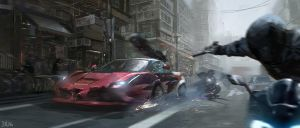 Street chase by JUNLING