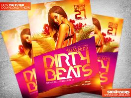 DIRTY BEATS FLYER TEMPLATE PSD by Industrykidz