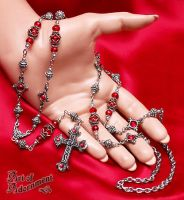 Sanguine Rosae Crucis Necklace by ArtOfAdornment