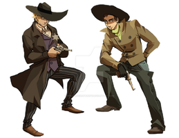 COMMISSION: Marshal and Outlaw by spacerocketbunny