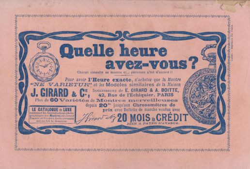 Stock - Antique vintage french ad - Pocket Watch by Algesiras