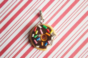 polymer clay chocolate frosting doughnut by l337Jacqui