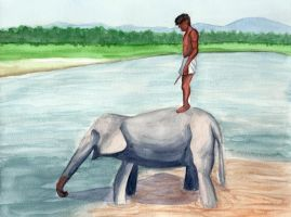 On the back of my elephant by huina