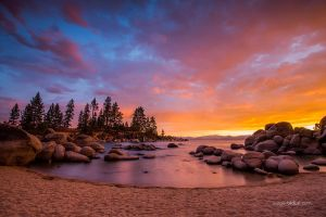 Sunset at Sand Harbor beach Lake Tahoe by sergey1984