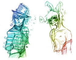 mad hatter and march hare by paintedmaru