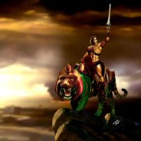 Classic He-man and Battlecat by planetbryan