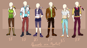 Outfits for sale! [OPEN] via PayPal or POINTS by SimplyKeji