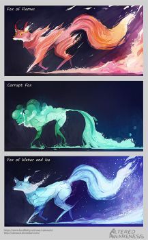 Elemental Foxes by CatCouch