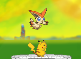 victini and pikachu by justudude1
