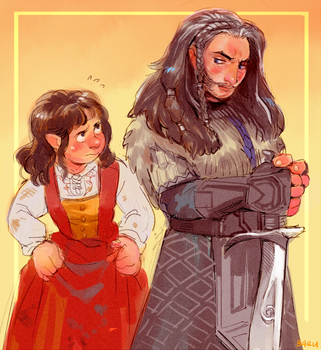 Female Bilbo and Thorin by Barukurii
