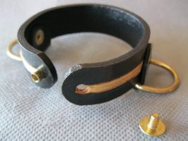 Black and Gold Leather Wirstband by passbyguy