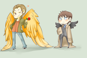 Gabriel And Castiel by MutantCatRose