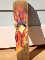 Rooster for mom -- oil on piece of our fence by Dangerkittyn