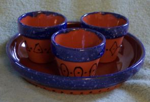 Three Tiny Pots and a Saucer, Blue Speckles by Vivienne-Mercier