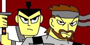Samurai Jack and Solid Snake by ian2x4