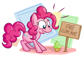 Pinkie and a free Cupcake by scrimpeh